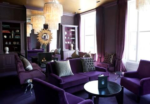 Glamorous Purple Room Restaurant The Phene Gold Mirror Klimt Inspired Interior Design Gustav